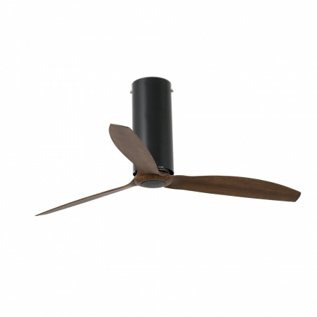 TUBE Μαύρος ματ ή glossy με DC μοτέρ και πτερύγια φινίρισμα ξύλου της FARO