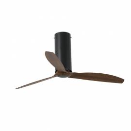 TUBE μαύρος matt ή glossy με DC μοτέρ και πτερύγια φινίρισμα ξύλου της FARO